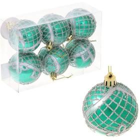 набор шаров пластик d-6 см 6 шт мираж цветочный узор зеленый   1009476