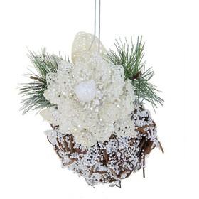 Фото шар пластик декор d-8 см снежный 705777. Интернет-магазин Vseinet.ru Пенза
