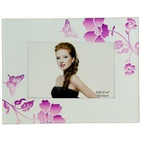 """Фоторамка стекло """"Фиолетовые цветы"""" серебристая, 10х15 см 1029076"""