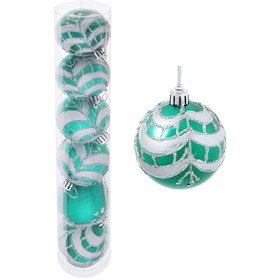 набор шаров пластик d-6 см 6 шт мираж узор зеленый туба 1009489