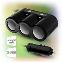 Автомобильная электроника Зарядное устройство Ginzzu GA-4620UB, АЗУ 5В/3.6A, 2USB +разветв. на 3 розетки +удлинитель. Интернет-магазин Vseinet.ru Пенза