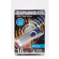 Флешка Exployd 530 16Гб,  USB 2.0, голубая (EX016GB530-Bl). Интернет-магазин Vseinet.ru Пенза