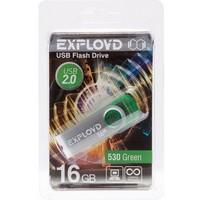 Флешка Exployd 530 16Гб,  USB 2.0, зеленая (EX016GB530-G). Интернет-магазин Vseinet.ru Пенза