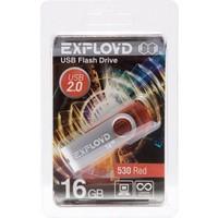 Флешка Exployd 530 16Гб,  USB 2.0, красная (EX016GB530-R). Интернет-магазин Vseinet.ru Пенза
