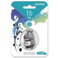 Флешка SmartBuy Wild  Hippo 16Гб,  USB 2.0, серая с белым (SB16GBHip). Интернет-магазин Vseinet.ru Пенза