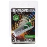Флешка Exployd 530 4Гб,  USB 2.0, зеленая (EX004GB530-G). Интернет-магазин Vseinet.ru Пенза
