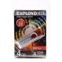 Флешка Exployd 530 4Гб,  USB 2.0, красная (EX004GB530-R). Интернет-магазин Vseinet.ru Пенза