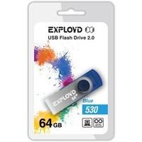 Флешка Exployd 530 64 Гб,  USB 2.0, голубая (EX064GB530-Bl). Интернет-магазин Vseinet.ru Пенза