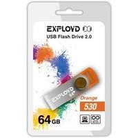 Флешка Exployd 530 64Гб,  USB 2.0, оранжевая (EX064GB530-O). Интернет-магазин Vseinet.ru Пенза