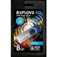Флешка Exployd 530 8Гб,  USB 2.0, голубая (EX008GB530-Bl). Интернет-магазин Vseinet.ru Пенза