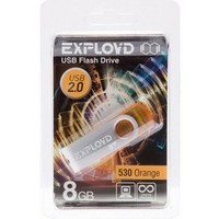Флешка Exployd 530 8Гб,  USB 2.0, оранжевая (EX008GB530-O). Интернет-магазин Vseinet.ru Пенза