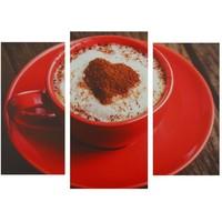 """Картина модульная на холсте """"Кофе в красной кружке"""" 2шт-25,5*50,5см, 30,5*60см, 60х100 см   1259776, Сюжет. Интернет-магазин Vseinet.ru Пенза"""
