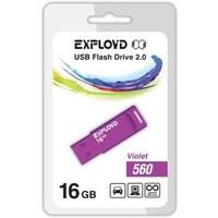 Флешка Exployd 560 16Гб,  USB 2.0, фиолетовая (EX-16GB-560). Интернет-магазин Vseinet.ru Пенза