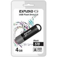 Флешка Exployd 570 4 Гб,  USB 2.0, черная (EX-4GB-570). Интернет-магазин Vseinet.ru Пенза