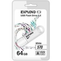 Флешка Exployd 570 64 Гб,  USB 2.0, белая (EX-64GB-570). Интернет-магазин Vseinet.ru Пенза