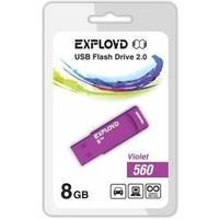 Флешка Exployd 560 8Гб,  USB 2.0, фиолетовая (EX-8GB-560). Интернет-магазин Vseinet.ru Пенза