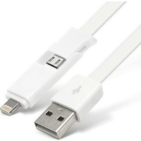 Кабель Partner 2 в 1 micro USB+Apple 8-pin синий 2,1A плоский. Интернет-магазин Vseinet.ru Пенза