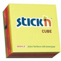 Блок самоклеящийся бумажный Hopax 21012 76x76мм 400лист. 70г/м2 неон 5цв.в упак.. Интернет-магазин Vseinet.ru Пенза