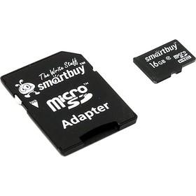 Карта памяти SmartBuy micro SDHC 16Гб, Class 10, адаптер SD(SB16GBSDCL10-01)