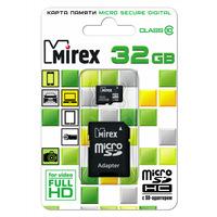 Карта памяти Mirex micro SDHC 32Гб, Class 10, адаптер SD(13613-AD10SD32)