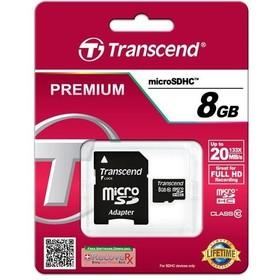 Карта памяти Transcend - Premium micro SDHC 8Гб, Class 10, адаптер SD(TS8GUSDC10)