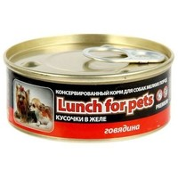 Консервы для собак Lunch for pets говядина, кусочки в желе, ж/б 100 г. Интернет-магазин Vseinet.ru Пенза