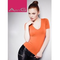 Футболка женская ARTG T-SHIRT SCOLLO V MANICA CORTA (orange, S/M). Интернет-магазин Vseinet.ru Пенза
