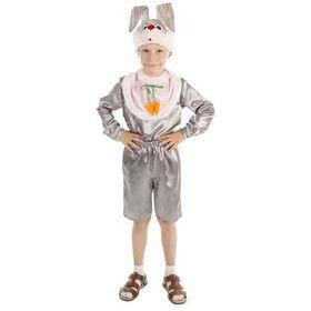 """Карнавальный костюм для мальчика """"Заяц"""" рубашка, шорты, манишка, шапка, размер 60 рост 116"""