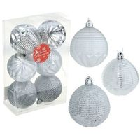 Набор шаров пластик d-7 см серебряный рельеф (набор 6 шт). Интернет-магазин Vseinet.ru Пенза