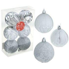 Набор шаров пластик d-7 см серебряный рельеф (набор 6 шт)