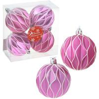 Набор шаров пластик d-7 см текстурный малиновый (набор 4шт). Интернет-магазин Vseinet.ru Пенза