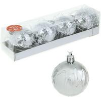 Набор шаров пластик d-5,5 см паутинка серебро (набор 4 шт). Интернет-магазин Vseinet.ru Пенза