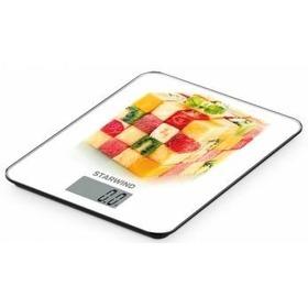 Весы кухонные StarWind SSK3359, белые с рисунком «Кубики из ягод и фруктов»