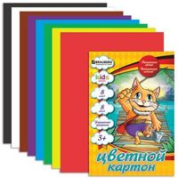 "Картон цветн А4 8л 8цв BRAUBERG Kids series ""Кот-рыболов"", 200х290мм, 124765. Интернет-магазин Vseinet.ru Пенза"
