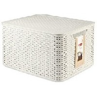 CURVER 03619-885 RATTAN STYLE BOX L корзина с крышкой 30л кремовая. Интернет-магазин Vseinet.ru Пенза