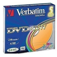 Диск DVD+RW Verbatim 4,7Gb 4x Slim Case Color (5шт) 43297. Интернет-магазин Vseinet.ru Пенза