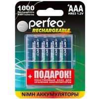 Фото Аккумулятор Perfeo AAA1000MAH/4BL+BOX AAA, Ni-MH, 1000 mAh, 1.2 V. Интернет-магазин Vseinet.ru Пенза