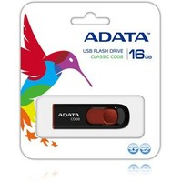 Флешка ADATA C008 16Гб,  USB 2.0, черная с красным (AC008-16G-RKD). Интернет-магазин Vseinet.ru Пенза