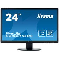 "Монитор Iiyama 24"" ProLite E2483HS-B3 черный TN+film LED 1ms 16:9 HDMI M/M матовая 1000:1 250cd 170гр/160гр 1920x1080 D-Sub DisplayPort FHD 3.4кг. Интернет-магазин Vseinet.ru Пенза"