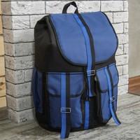 4410 Рюкзак-maxi , 35*60*26, отд на шнурке,3 н/кармана,черный/синий. Интернет-магазин Vseinet.ru Пенза