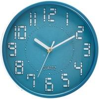 Часы настенные круг, арабские цифры, электронный шрифт, голубые, d=22,5 см. Интернет-магазин Vseinet.ru Пенза