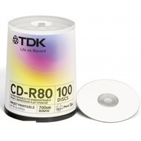 Диск TDK CD-R 700MB 52x Cake Box (100шт) Printable (t19884) CD-R80PWWCBA100-V. Интернет-магазин Vseinet.ru Пенза