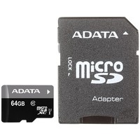Карта памяти micro SDXC ADATA Premier 64 Гб, Class 10 UHS-I U1 , адаптер SD (AUSDX64GUICL10-RA1). Интернет-магазин Vseinet.ru Пенза