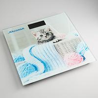 Весы напольные Аксинья КС-6002, многоцветные с рисунком «Забавный котенок»