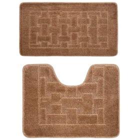 Фото Комплект ковриков для в/к BANYOLIN CLASSIC из 2 шт 50х80/50х40см (коричневый). Интернет-магазин Vseinet.ru Пенза
