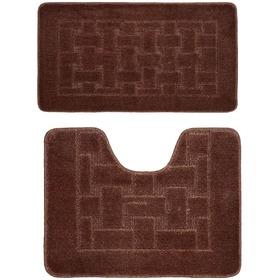 Фото Комплект ковриков для в/к BANYOLIN CLASSIC из 2 шт 50х80/50х40см (темно-коричневый). Интернет-магазин Vseinet.ru Пенза
