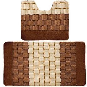 Фото Комплект ковриков для в/к BANYOLIN SILVER из 2 шт 50х80/50х40см (коричневый). Интернет-магазин Vseinet.ru Пенза