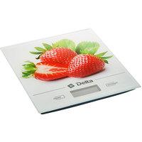 Весы кухонные Delta KCE-29, белые с рисунком «Клубника». Интернет-магазин Vseinet.ru Пенза