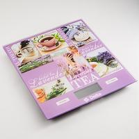 Весы кухонные Delta KCE-57 Lavender, сиреневые с рисунком. Интернет-магазин Vseinet.ru Пенза
