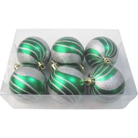 Шарики новогодние IRIT ING-031B матовые наб. 6 шт. 6см зеленые